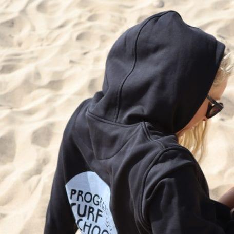 Black Surf School Hoodie wash print