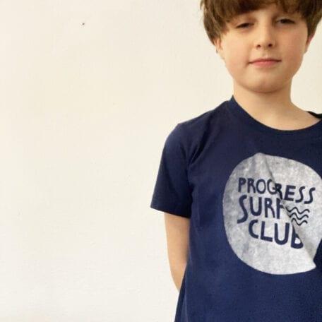 progress kids surf club hand printed t-shirt